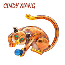 CINDY XIANG New Arrival Enamel Play Ball Cat Brooch Animal Fashion Brooches Unisex Women And Men Jewelry High Quality 2019