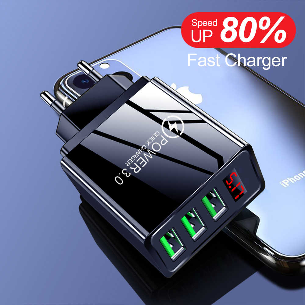Digital Display USB Charger Quick Charge 3.0 3 Port USB Ponsel Charger untuk iPhone 7 Samsung Tablet Adaptor Cepat pengisian