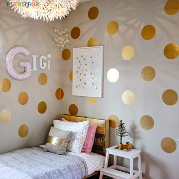 New Big Polka Dots Wall Stickers For Baby Room Gold Decals Circle Tiny Sticker Home Decor Art Kids Gifts