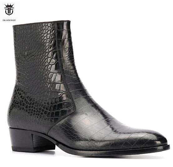 2020 FR. LANCELOT marque peau de serpent noir en cuir véritable haut hommes bottes bande élastique Chelsea bottes chaussures plates hommes Zapatillas