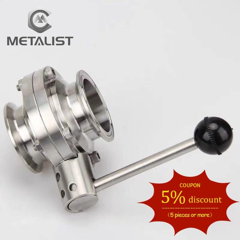 Metal de alta calidad 63mm/76mm SS304 válvula de mariposa sanitaria de acero inoxidable ajuste 2,5