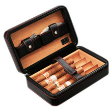 Cohiba Cigar Case Holder Zipper Leather + Wood Storage Humid