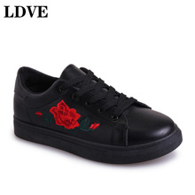 купить Hot Spring Women Shoes White Sneakers Breathable Flats Women Low Top Canvas Shoes Lace-up Flower Casual Woman Tenis Feminino дешево
