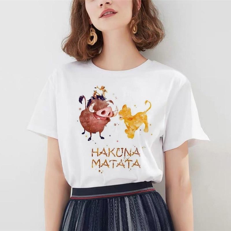 Hakuna Matata Shirt Women Harajuku Ullzang Fashion The Lion King T-shirt Femme Homme Summer Tshirt Fashion Top Female T Shirt