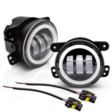 "Safego 1Pair 50W 4"" Round LED Fog Light Halo Ring DRL 9005 Headlight Fog Lights for Off road Wrangler JK TJ LJ Truck 4x4 SUV ATV"