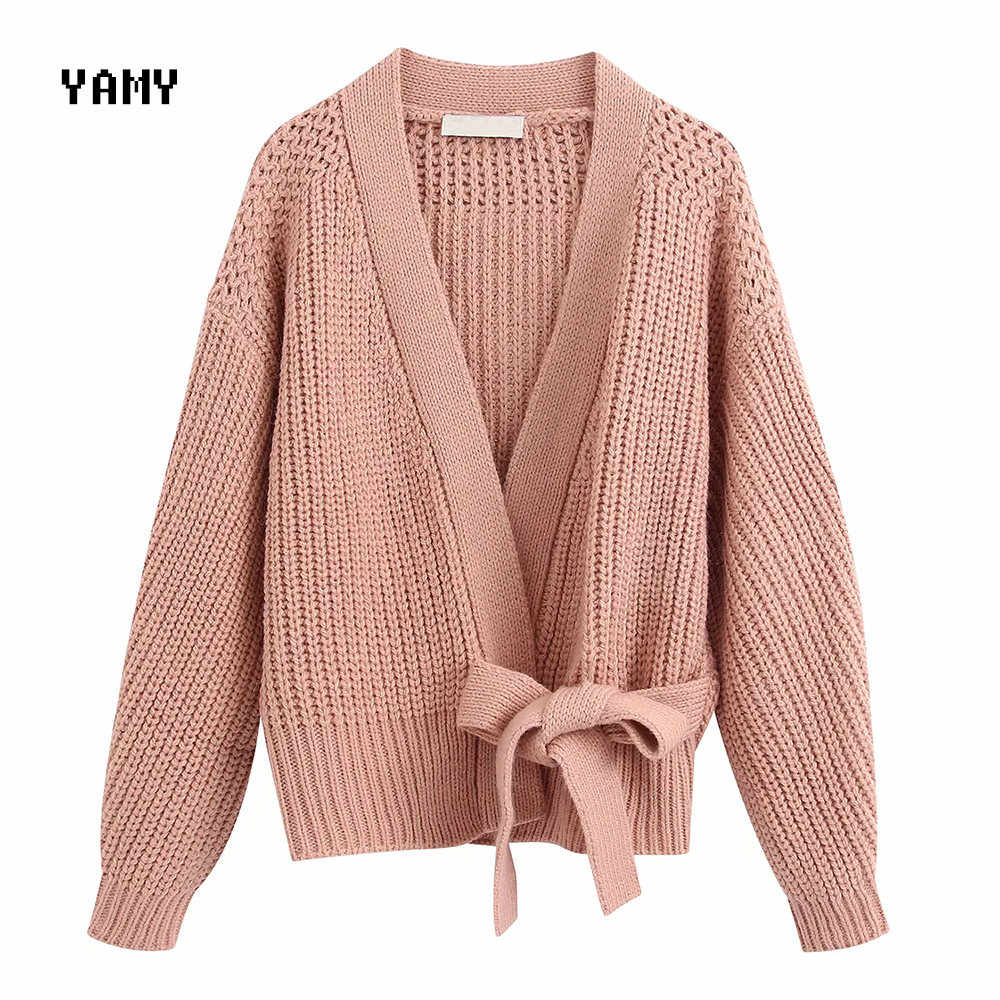 New Color Womens Cropped Knit Sweater With Belt Long Sleeve Stylish Female Cardigan Outerwear Zoravicky Knit Top Green Pink