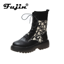 Fujin Women Ankle Boots Platform 2019 New Autumn Shoes Round Toe Wool Winter Booties Stretch Quality