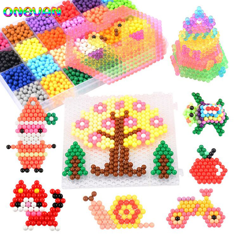 Creative Multicolor Magic DIY Puzzle Beads Toys Water Spray Sticky Bead Set Handmade Educational Toys Crystal Color Stickybeads