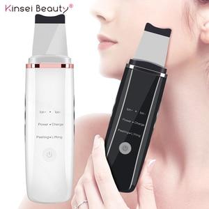 Image 1 - Глубокий аппарат для чистки лица ультразвуковой ионный скребок для кожи EMS пилинг лопатка очиститель пор лица