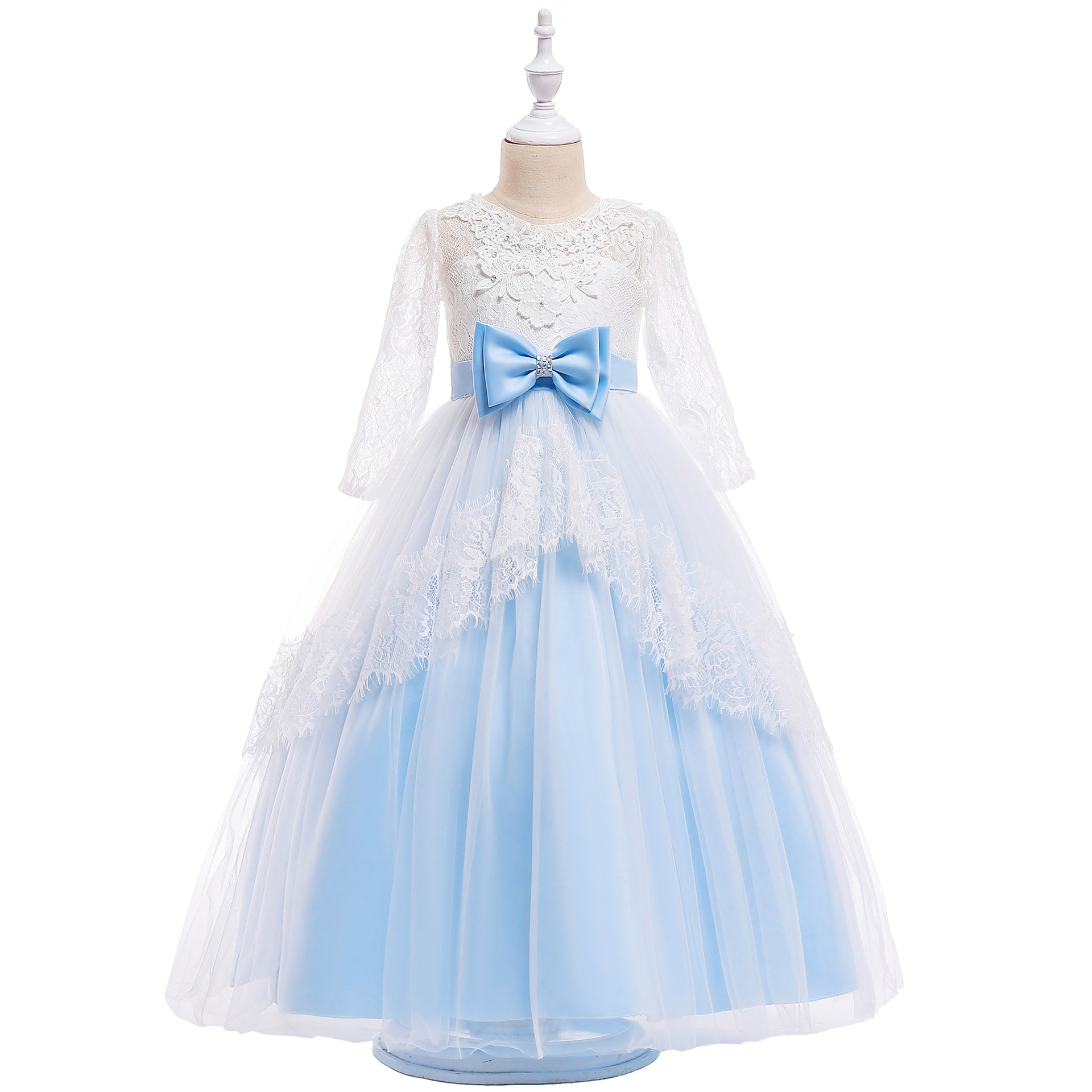 New Style Europe And America Lace Hollow Out Formal Dress Long Skirts Girls Princess Dress Children Wedding Dress Mesh Dress