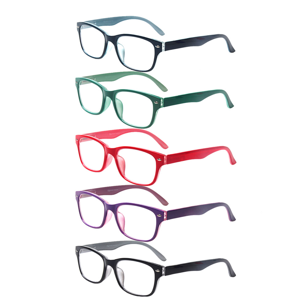 5 Pack Reading Glasses Spring Hinge Oval Frames Colorful Readers Quality Eyeglasses for Men and Women 0.5to 6.0