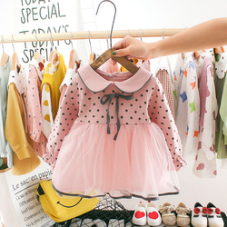 Infantil do bebê meninas roupas de manga cheia dot arco malha vestidos de bebê recém-nascido meninas roupas crianças do bebê meninas traje roupas 0-24month