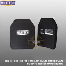 Ballistic Panel Bulletproof Plate NIJ 3+ III+ 0101.06/NIJ 0101.07 RF1 PE 10x12 Inches 2 PCS M80&AK47&M193 Body Armor--Militech