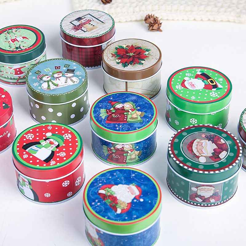 Christmas Mini Tin Box Sealed Jar Jewelry Biscuit Cookie Coin Candy Storage Container Case Headphones Organizer