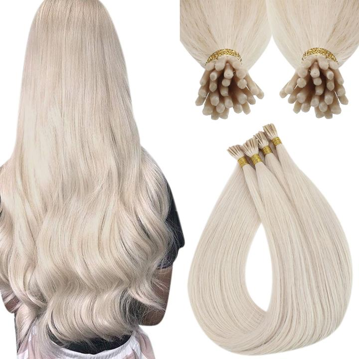 VeSunny Virgin I Tip Hair Extensions DIY Bead Per Package Blonde I Tip Extensions Remy Human Hair Remy Fusion Hair