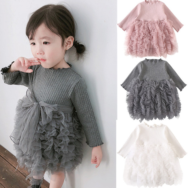 Cotton warm Christmas dresses for baby girls