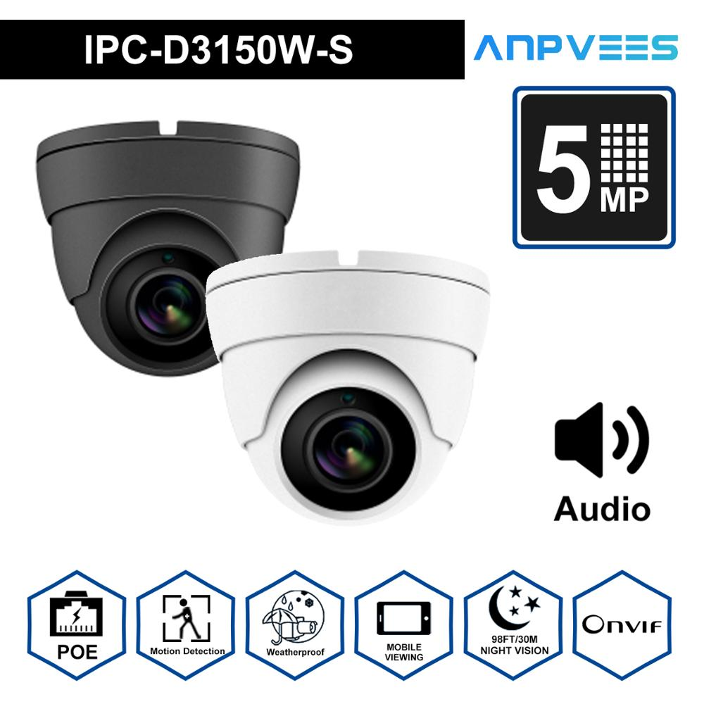 ANPVEES (Hikvision Compatible) 5MP Dome POE IP Camera Built-in Microphone Home/Outdoor  IR 30m IP66 ONVIF H.265