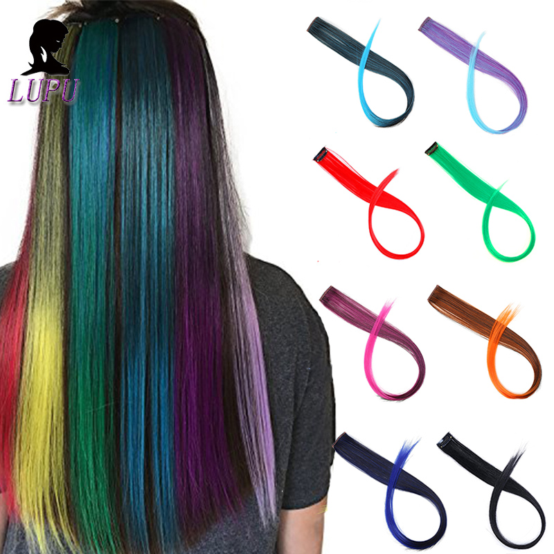 LUPU Long Straight Synthetic Hair Extensions Single Clip In One Piece Colored Rainbow Heat Resistant Fiber Fake Hairpieces