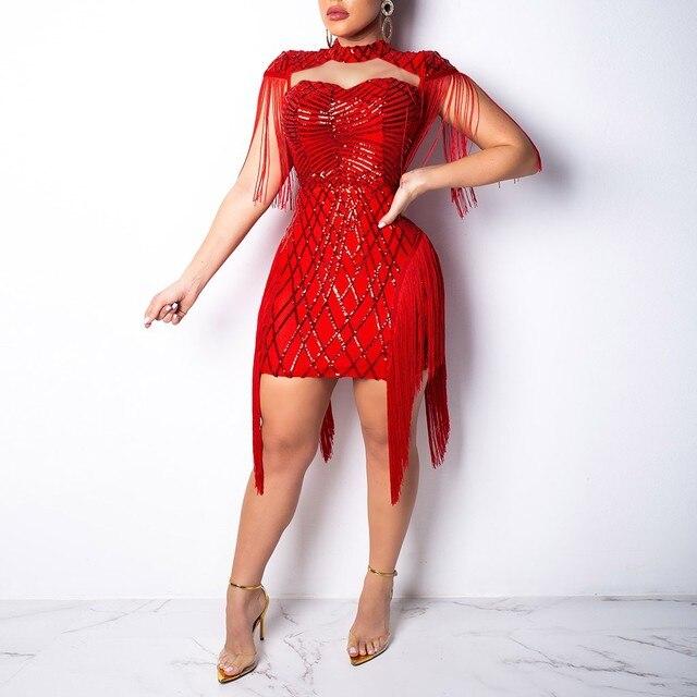 Evening Party Sequin Dresses Women Nightclub Party Club Tassel Petal Sheath Sleeveless Sexy Ladies Dress Elegant Tunic 1
