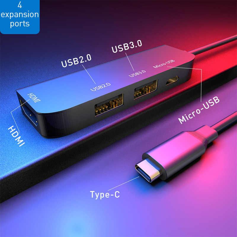 Vlampo Kecepatan Tinggi Tipe-C untuk HDMI + USB3.0 + USB2.0 + Micro USB 4 Port Usb 3.0 Hub splitter Adaptor Ekspansi Dock Mengkonversi untuk Macbook