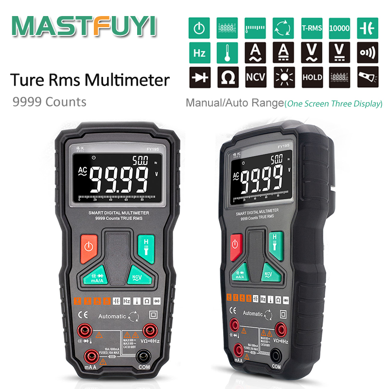 Mastfuyi FY19S 9999 отсчетов Цифровой мультиметр высокой точности цифровой мультиметр NCV умный Авто начиная AC/фонарик постоянного тока