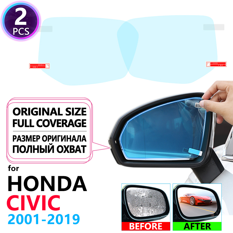 Full Cover Anti Fog Film Rearview Mirror for Honda <font><b>Civic</b></font> 7 8 9 10 2001~2019 Accessories 2006-2011 EU FB FK FA FD 2005 2012 2017 image