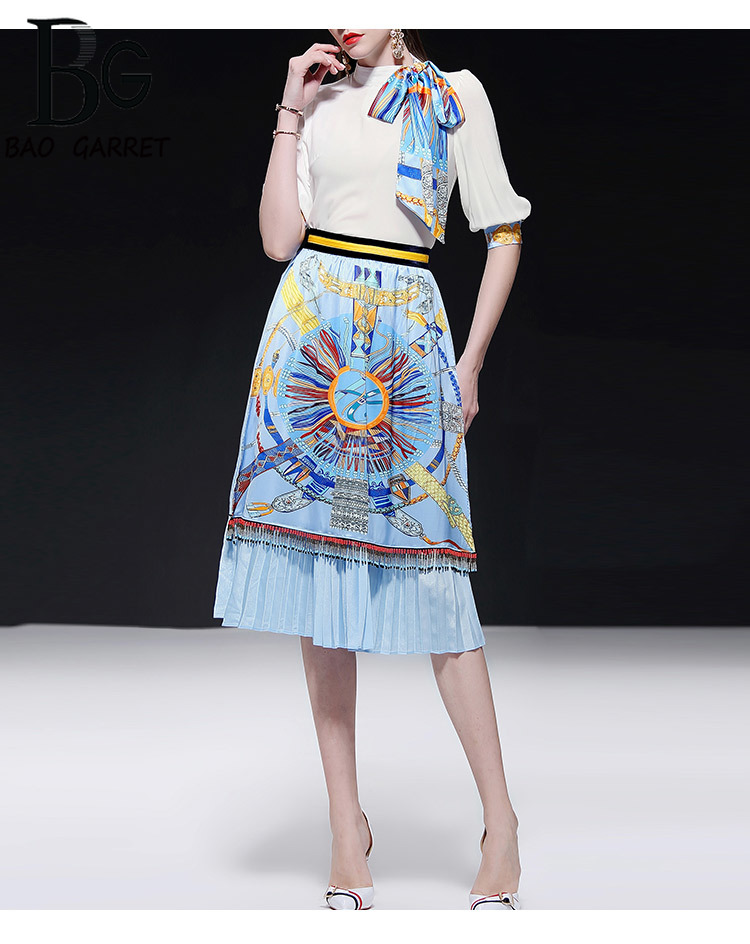 Baogarret Summer Runway Skirt Suit Women 39 s Elegant Scarf White Blouse Pleated Beading Tassel Skirts Two Piece Set Female in Women 39 s Sets from Women 39 s Clothing