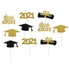 1Set Klasse Von 2021 Congrats Grad Kuchen Topper Papier Tasse Graduate Feier Party Arzt Hut Kuchen Backen Dekoration Liefert