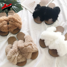 NAN JIU MOUNTAIN 2019 Plush Slippers Flat Sandals Fashion Ca