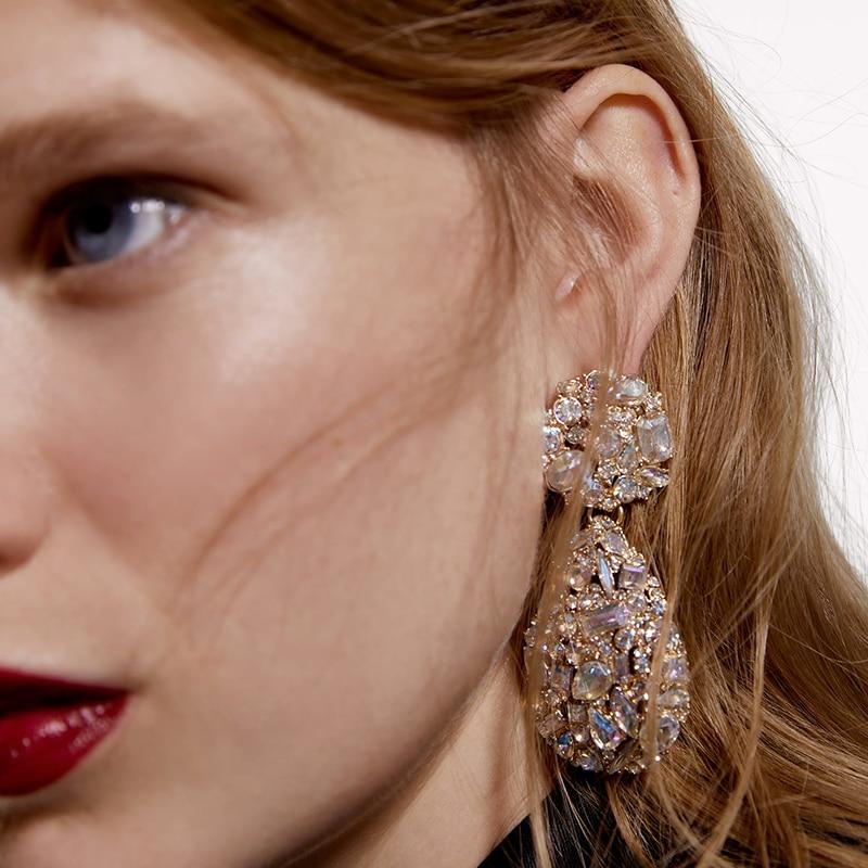 JURAN Punk Metal Crystal ZA Dangle Earrings Tassel Jewelry Boho Women Wedding Gifts Friends Party Statement Earrings Accessories