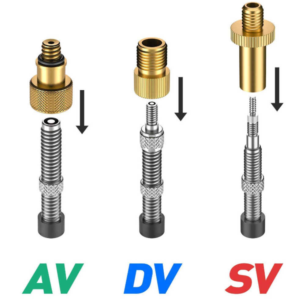 3PCS Pump Valve Adapter Coneventer Road Bike Bicycle Tube Presta Multifunctional Quick Install Valve Leakage Proof