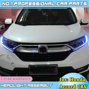 Image 4 - Auto zubehör Kopf Lampe für CR V Scheinwerfer 2017 2018 CRV LED Scheinwerfer LED DRL D2H Hid Option Engel auge Bi Xenon Strahl