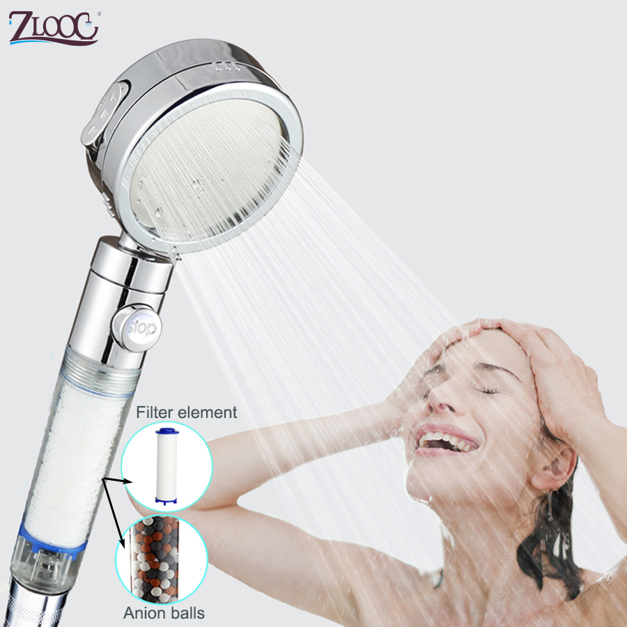 Zloog 3 Mode High Pressure Pure Shower Head Purified Water Replaceable Filter Element Skin Care Stop Button Showerhead
