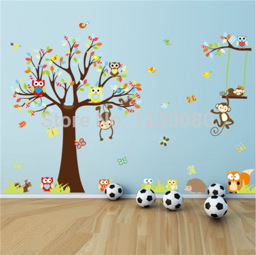 Hot Fashion Forest Animal Monkey Owls Tree Wall Sticker Vinyl Mural Decal Kids Room Decor cl