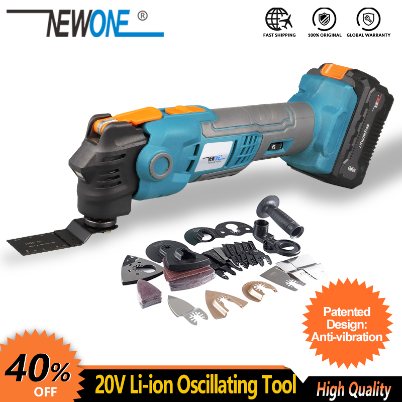 Tools : NEWONE 20V Li-ion Cordless Quickchange Oscillating Tool Anti-Vibration Patented Design Electric Trimmer Renovator Quick-release