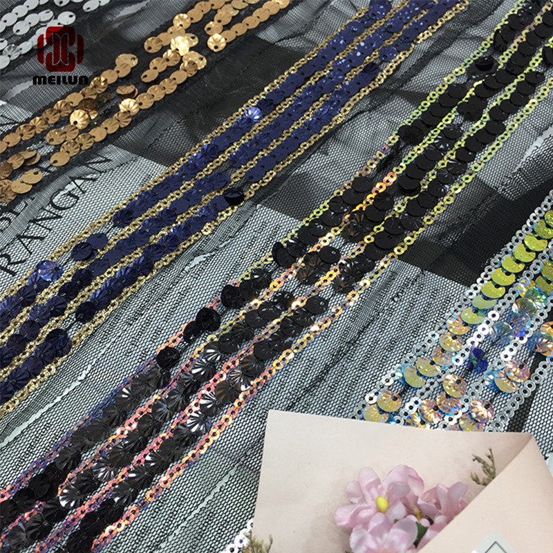 New Meilun 2020 Polyester Sequined Lace Ribbon Shiny Trims Fabric Wedding Headdress DIY Accessories Sewing Garment Embellishment