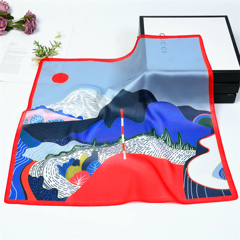 53cm Spring Silk Scarves Women Hand Painted Mountains And Rivers Summer Square Scarf Kerchief Brand Neckerchief For Ladies