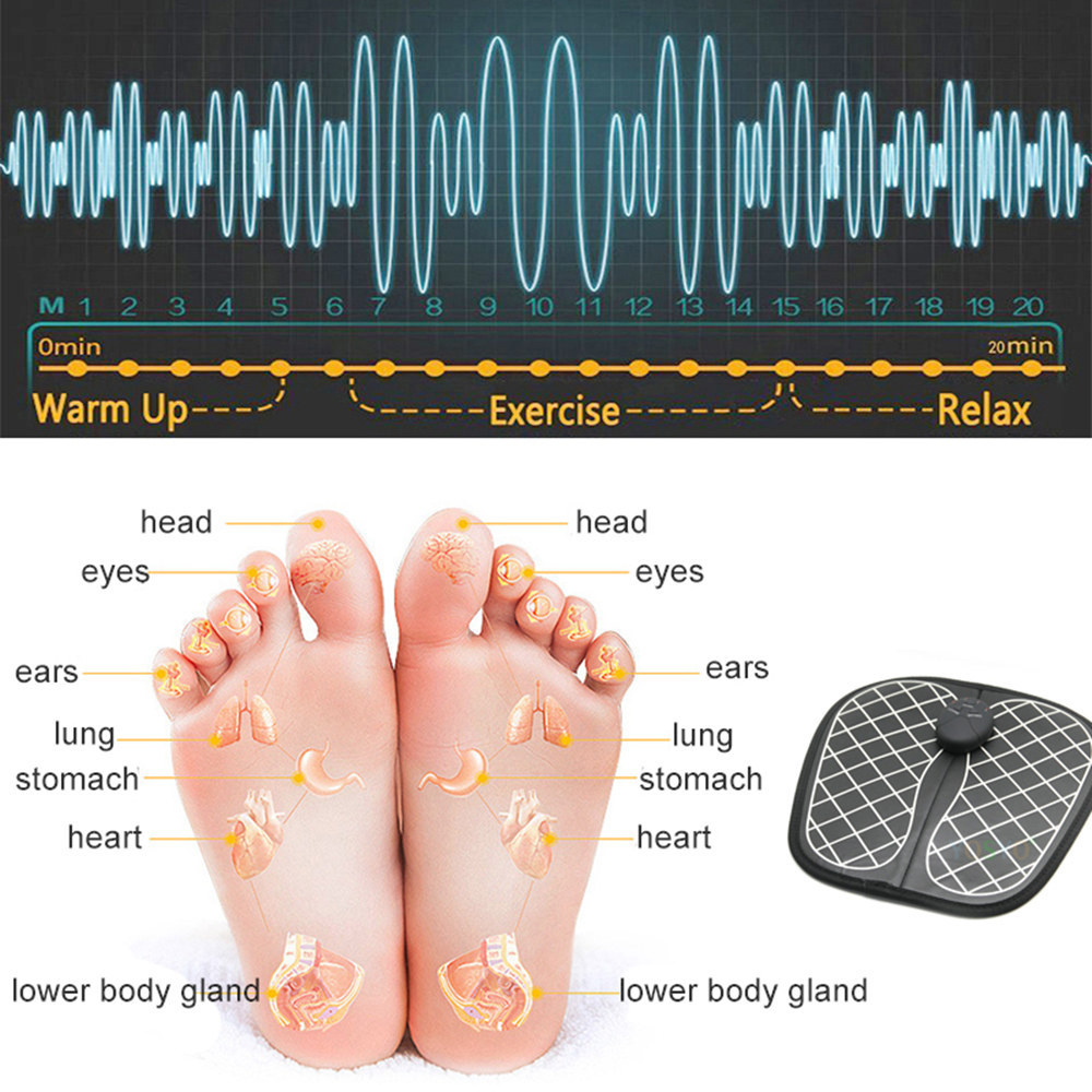 Electric EMS Foot Massager Pad Feet Muscle Stimulator Foot Massage Mat Improve Blood Circulation Relieve Ache Pain Health Care 5