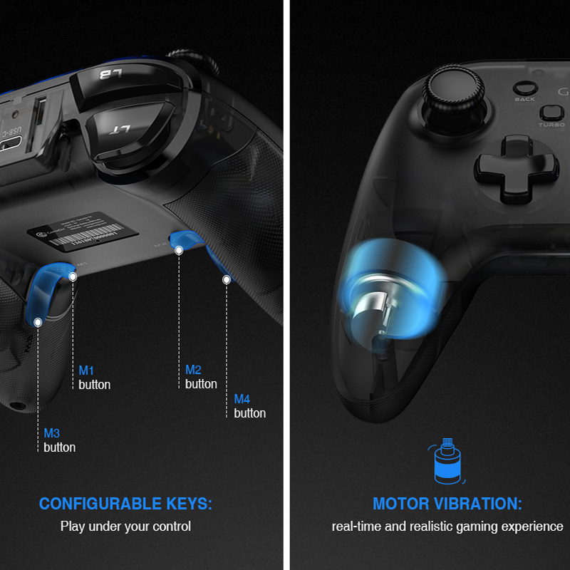 GameSir T4 USB Wired Gamepad for PS3 with D-Pad Joystick/Colorful LED and Motor Vibrator 4