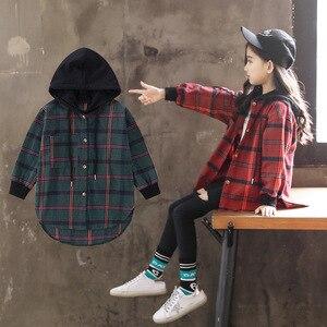 Image 5 - חם 2019 ילדי חולצה ילדה כותנה ירוק/אדום משובץ חולצות עבור בני נוער אביב סתיו אופנה סלעית קרדיגן מעיל 3 14Yrs