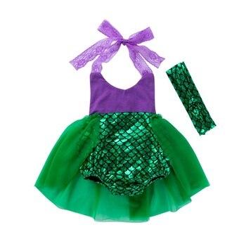 2pcs/set Baby Girl Princess Dress Kids Princess Dress Mermaid Baby Girl Clothes Baby Kids Girl Dress Mermaid Swimsuit + Headband