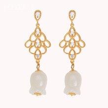 925 Sterling Silver Hetian Jade Flower Golden Stud Earrings Fine Jewelry for Women Lily of the valley designer Original Earring