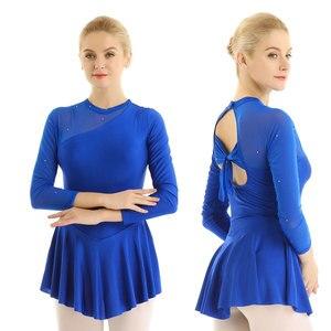 Image 3 - Women Professional Lyrical Gymnastic Leotard Figure Skating Dress Modern Ballet Ballroom Dance Costumes Halter Backless Dresses