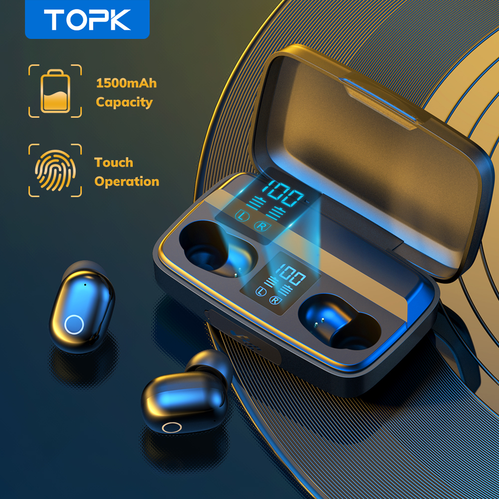 TOPK T10 TWS Bluetooth V5.0 Wireless Headphones Fingerprint Touch Bluetooth earphone 1500mAh Charging Box Sports earbuds