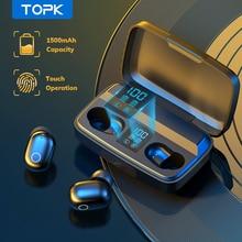 TOPK – écouteurs sans fil Bluetooth V5.0 T10 TWS, oreillettes de sport à commande tactile, avec boîte de charge 1500mAh
