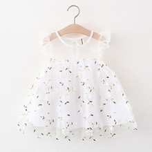 Newborn Dresses For Girl Summer Party Wedding White Dress Baby Girls Lace Flying Sleeve Embroidery Small Flower Sweet Dress