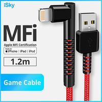 ISky 90도 MFi 케이블 게임 케이블 iPhon X8765 SE 조명 USB 충전기 각도 케이블 데이터 동기화 팔꿈치