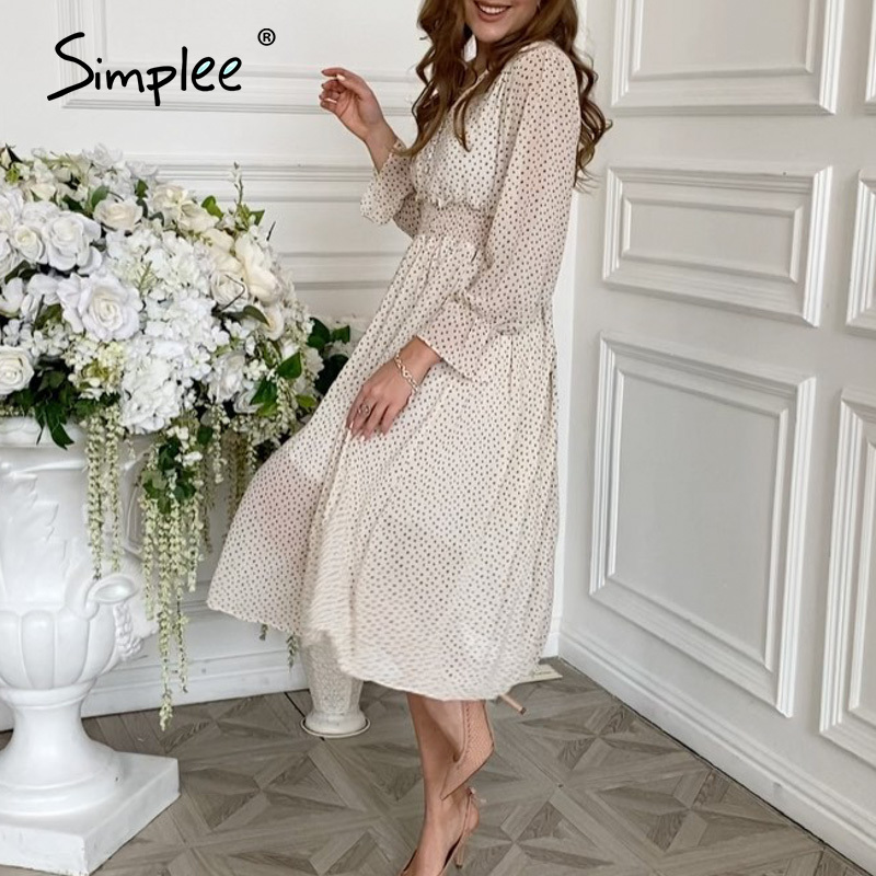 Simplee casual flare sleeve dress women Elegant V neck Polka Dot print sash dress A Line