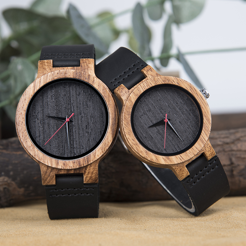 DODO DEER Couple Watch Romantic Leather His And Hers Wrist Watches A26-1 A26-2 Gifts Set For Lovers Black Color 2 Pieces