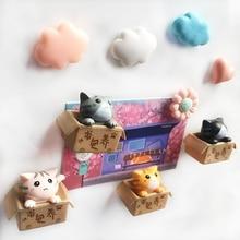 4pcs/lot Fridge Magnets 3D Box Cat Doll Message Magnet Sticker Refrigerator Home Decor Kids Toys